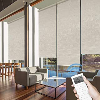 Graywind Motorized Roller Shades 60% Blackout Light Filtering Window Shades Cordless Window Blinds Freestop Roller Blinds with Valance for Smart Home and Office, Customized Size, Jacquard Coffee