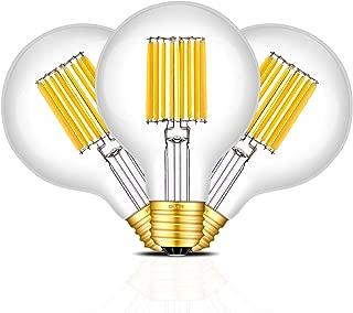 CRLight 10W Edison LED Globe Bulb 100W Equivalent Soft White 3200K 1000LM, E26 Base Antique G25 / G80 Clear Glass Globular LED Filament Bulbs, Bathroom Vanity Mirror Light, Non-dimmable, 3 Pack