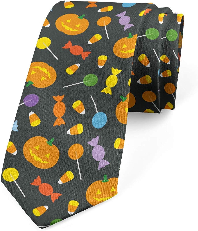 Lunarable Men's Tie, Spooky Pumpkins Sweets, Necktie, 3.7