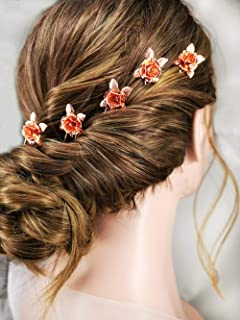 Aegenacess Rose Gold Hair Pins Set Bobby Flower Leaf Bridal Buns Clips for Wedding Brides and Bridesmaids Decorative Gift Accessories Headpieces - 5 Pieces