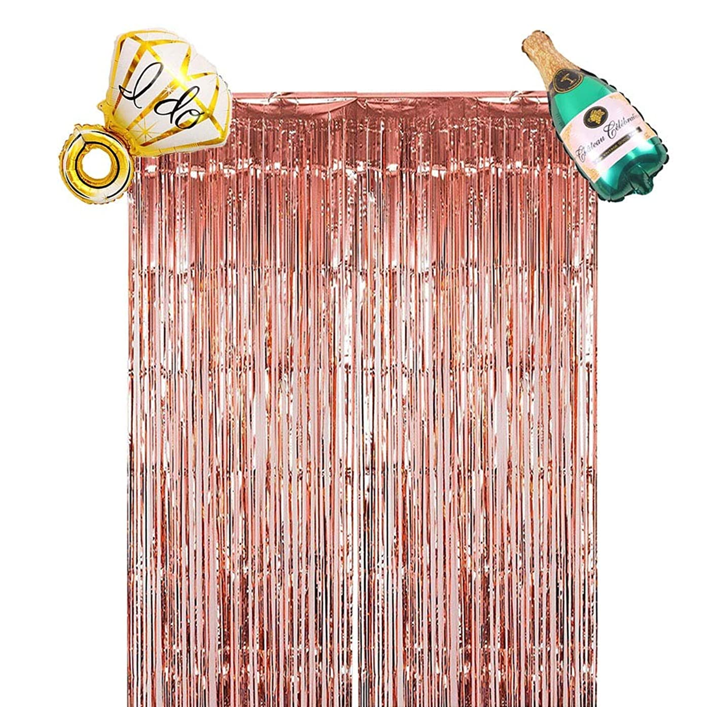 Metallic Foil Fringe Curtain,(3.2x 9.8 ft) 1 pack Decorations for Christmas, Birthday,  bachelorette Backdrop, w/ ring and Champagne balloon, bachelorette party decorations set