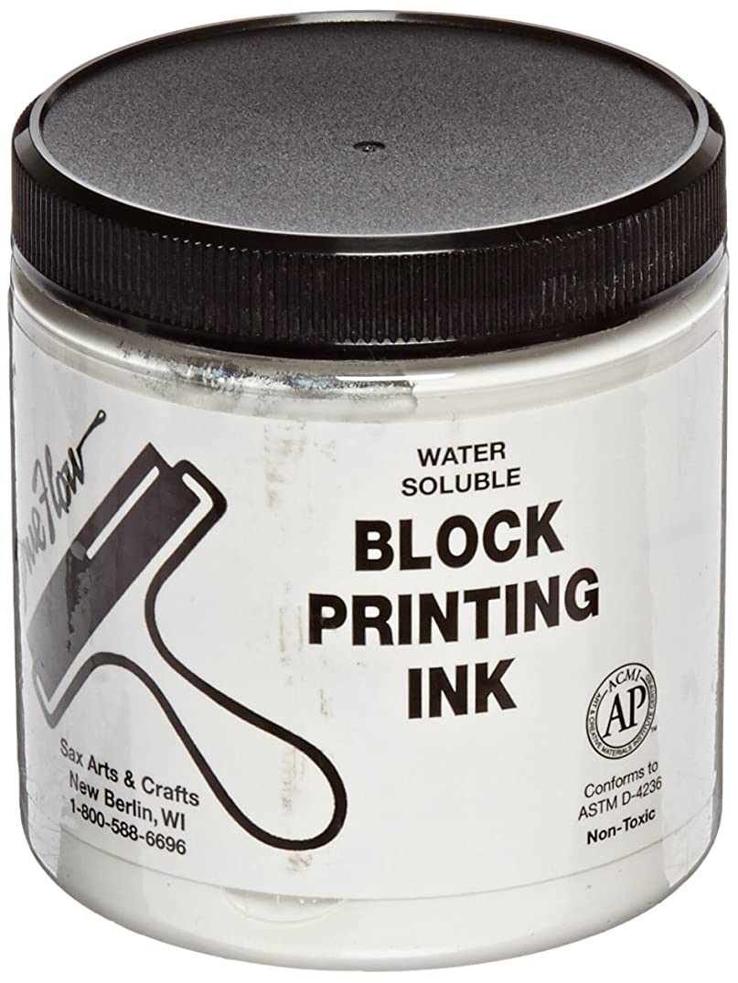 Sax True Flow Water Soluble Block Printing Ink - 8  Ounce Jar - White