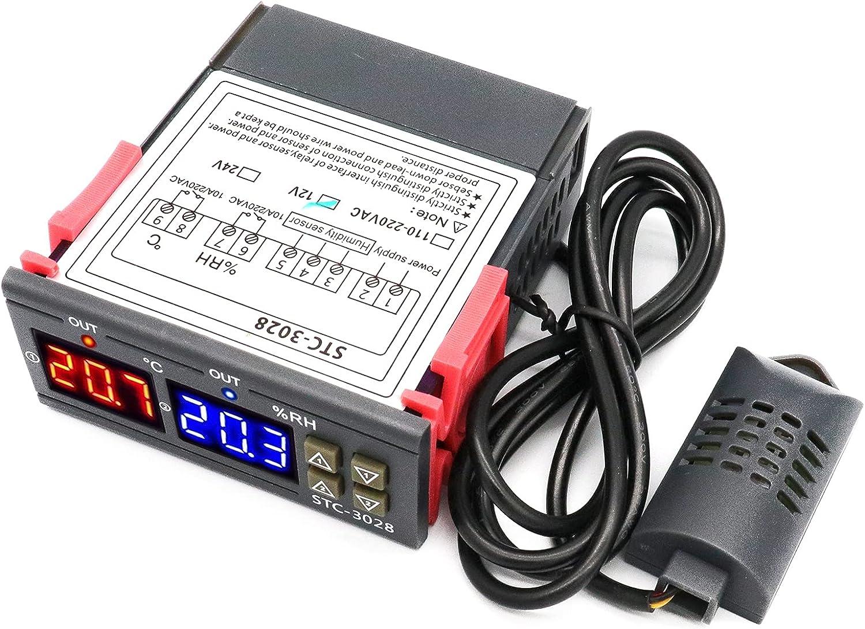 RUIZHI STC-3028 Medidor Digital de Temperatura y Humedad,12V 10A Termostato Dual Digital Display Regulador de Temperatura con Doble NTC Sonda de Calefacción Sensor