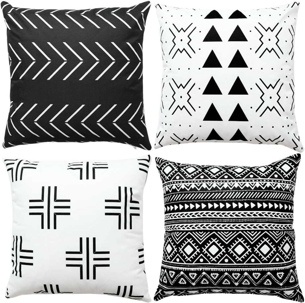 Buy WLNUI Set of 20 Black Boho Modern Pillow Covers 20x20 Inch ...