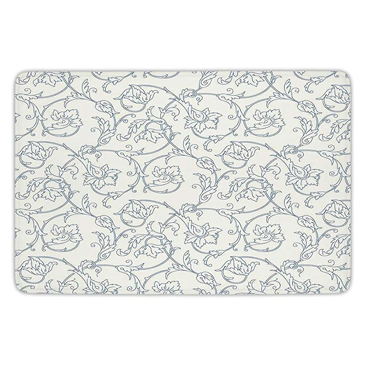 K0k2t0 Bathroom Bath Rug Kitchen Floor Mat Carpet,Floral,Flower Orchids Bohemian Style Vintage Petals Vines Pattern French Country Style,Blue White,Flannel Microfiber Non-Slip Soft Absorbent