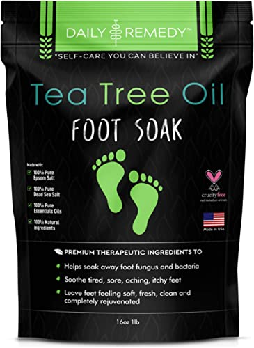 Tea Tree Oil Foot Soak with Epsom Salt - Made in USA - for Toenail Fungus, Athletes Foot, Stubborn Foot Odor Scent, F...