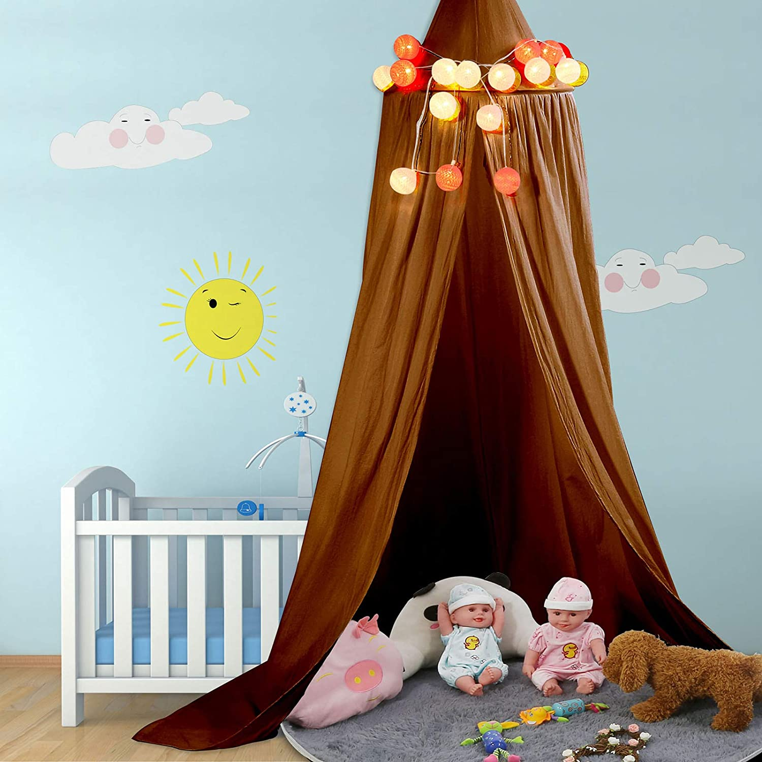 Bed Canopy Baby Bedding Round Dome Bed Canopy Room Decoration, Bed Curtains Kids Play Tent Hanging Tent Mosquito Net, Canopy Bed for Baby Kids Reading Playing Sleeping (Yellowish-Brown)