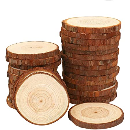 30Pcs Natural Wood Slices 8-9cm  Log Wooden Circles for Wedding Christmas Decor