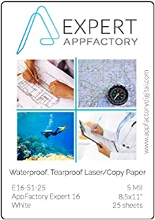 AppFactory Expert 5 Mil Waterproof Tearproof Laser/Copy Paper – 25 sheet pack (8.5x11)