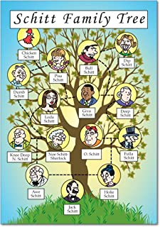 Schitt Family Tree - Hilarious Birthday Greeting Card with Envelope (4.63 x 6.75 inch) - Adult Humor, Appreciation Card for Family Birthdays - Funny Bday Gratitude Notecard Stationery 4250