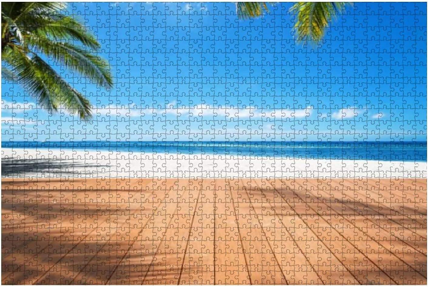 1000 Pieces-Wooden sea View Terrace Beside Trop Excellent Sales Under Trees Palm