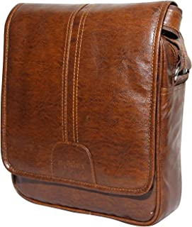 Sphinx Artificial Leather Cross-Body Large Sling Bag for Men/Boys - (L x B x H: 30 x 25 x 7 cm) (Tan)