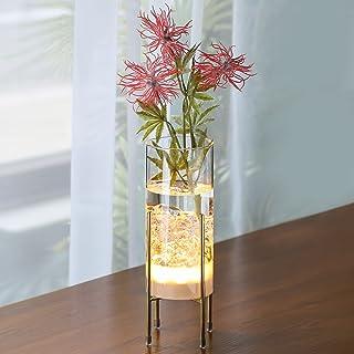 MJ PREMIER 花瓶 ガラスの花瓶 フラワーベース 20cm LEDライト付き 水栽培 シンプル花瓶 インテリア ヨーロピアンスタイル 花びん クリアガラス 透明花瓶 北欧 おしゃれ
