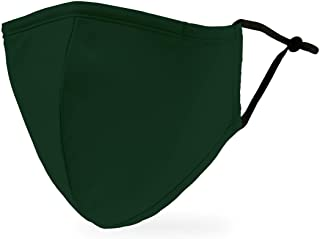 Weddingstar 3-Ply Adult Washable Cloth Face Mask Reusable and Adjustable with Filter Pocket - Dark Green