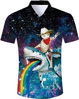 RAISEVERN Summer Mens Fancy Print Hawaiian Shirt Casual Short Sleeve T-Shirts Outfits for Holiday Wear Button Down Hawaii ...