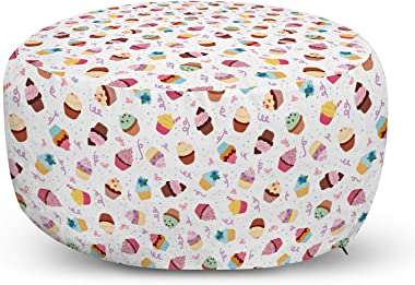 Lunarable Dessert Ottoman Pouf, Cupcakes Yummy Kitchen Dessert Birthday Celebration Valentines Day Happiness Design, Decorative Soft Foot Rest with Removable Cover Living Room and Bedroom, Multicolor