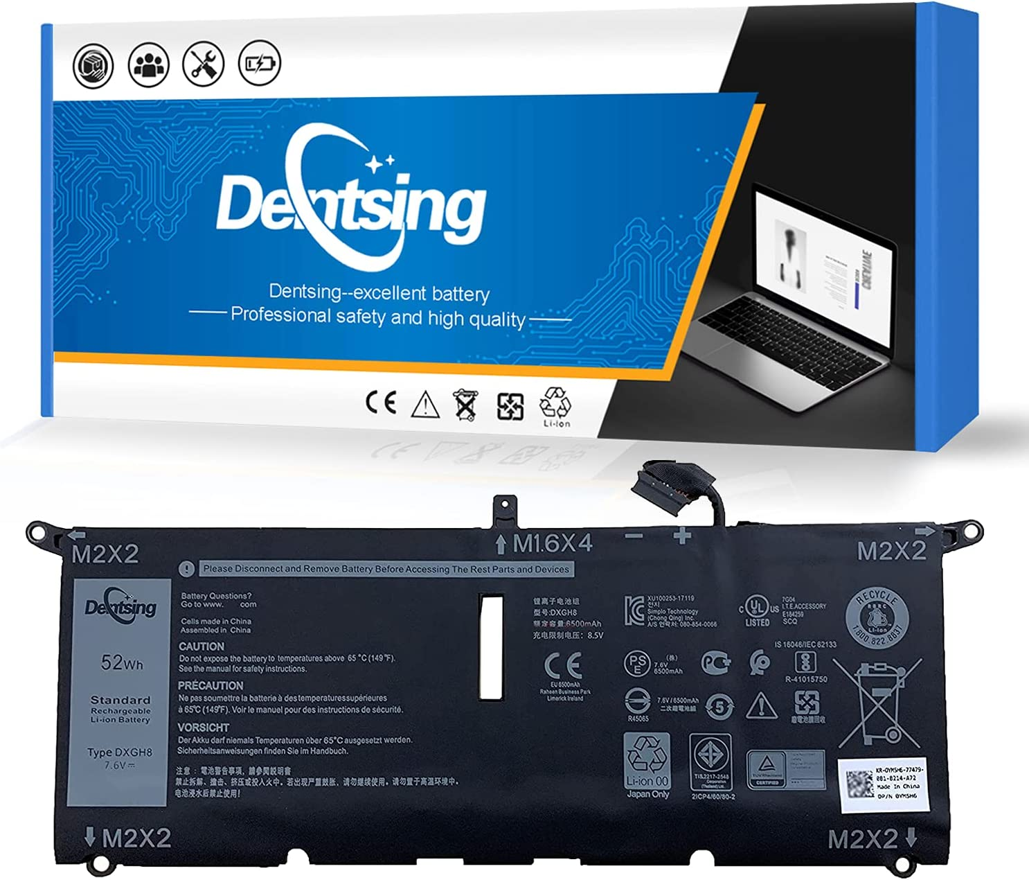 Dentsing Max Inventory cleanup selling sale 55% OFF DXGH8 7.6V 52Wh 6500mAh Battery Laptop with Compatible