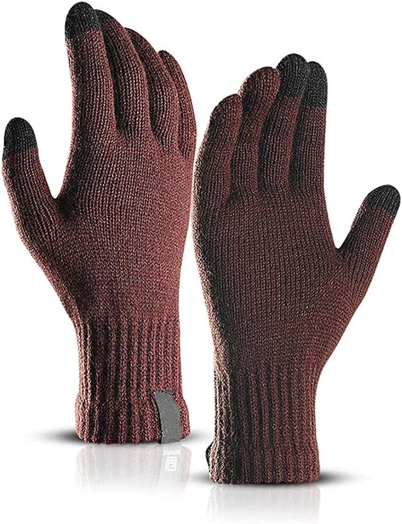 Touch Screen Knitted Gloves Men Women Thicken Wool Mitten Outdoors Anti-Slip Warmer Couple Gloves coffee1