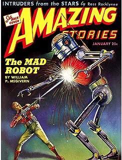 Wee Blue Coo Comics Amazing Stories Mad Robot Laser Gun Sci Fi Unframed Wall Art Print Poster Home Decor Premium