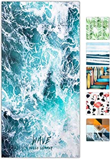 snailman Microfiber Beach Towel,Quick Drying Lightweight Swim Towels, Wave Printed Travel Towel,Shower Beach Blanket Sand Free Towel (Large(60X31)) …