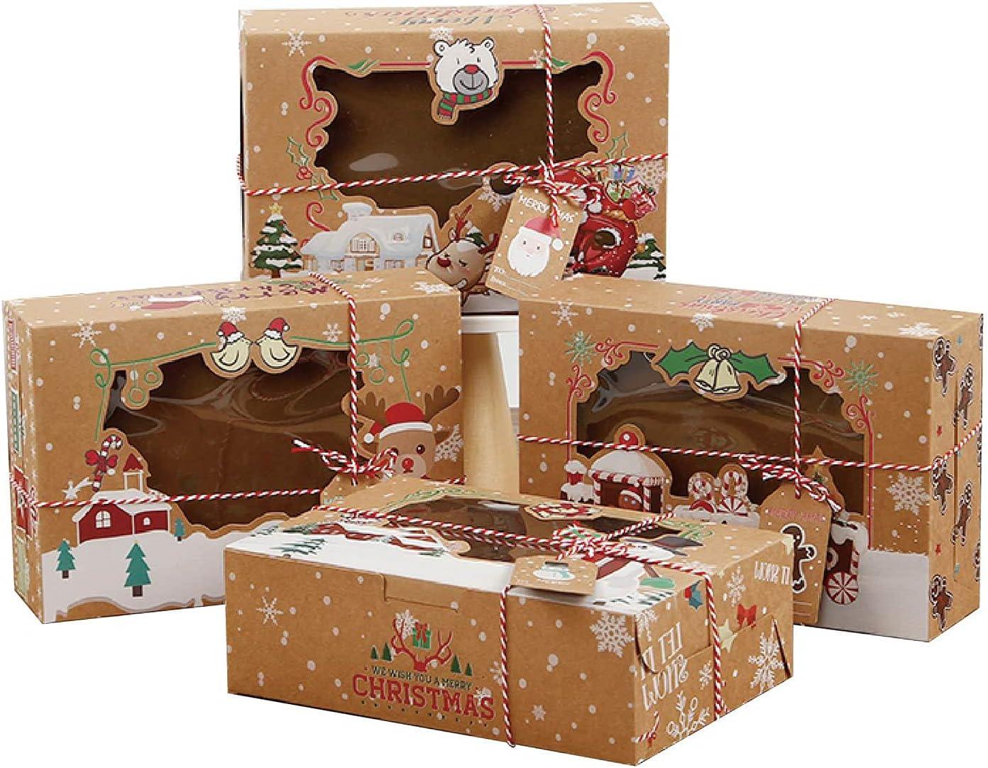 4pcs cajas de galletas de Navidad,cajas de torta de Navidad cajas de regalo,Cajas De Galletas Con Ventana con Ventana Etiquetas,para Cupcakes/galletas/Macarons,como regalo para Navidad (22x15x7 cm)