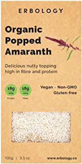 Organic Puffed Amaranth 3.5 oz - Rich in Protein, Fiber and Minerals - Gluten-free - Non-GMO