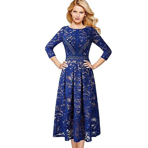 1bb2da588db VFSHOW Womens Floral Lace Patchwork Cocktail Wedding Party A-Line Midi Dress