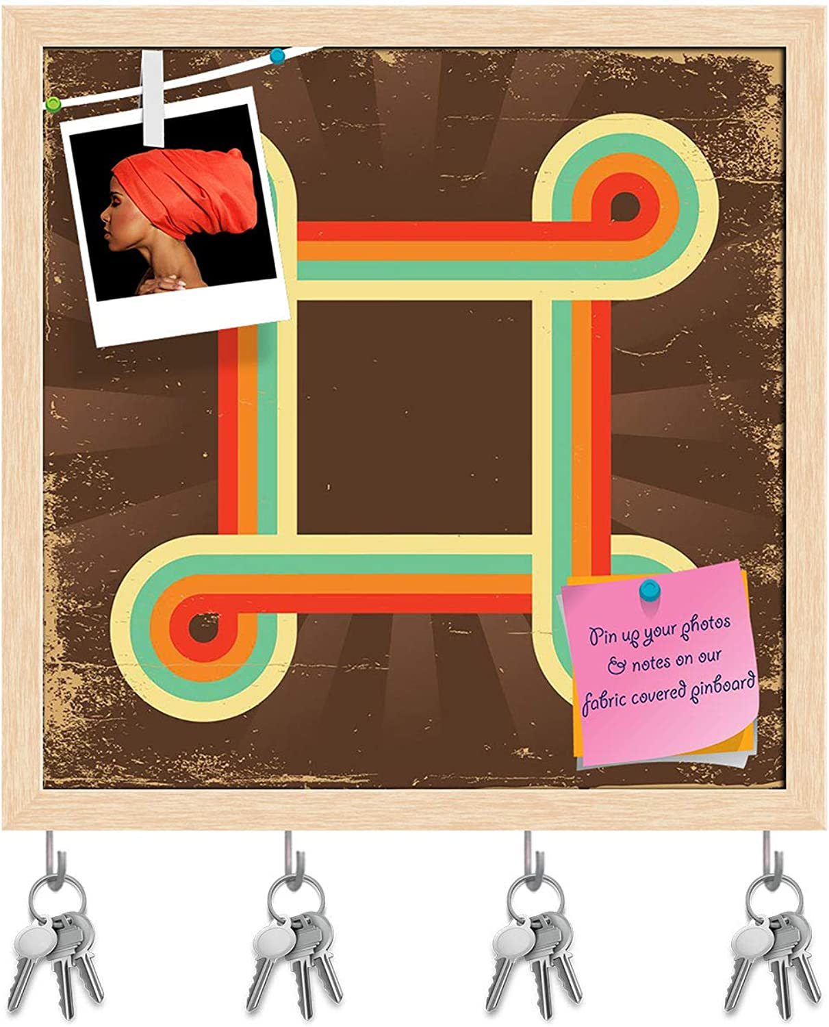 Artzfolio Retro Abstract Design D5 Key Holder Hooks   Notice Pin Board   Natural Brown Frame 20 X 20Inch