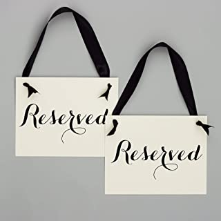 2 Reserved Signs Wedding Chair Seat Banners Party or Event | Set of 2 Saved Seating for Wedding Ceremony, Reception, Conference | Black Ribbon | Ivory Paper