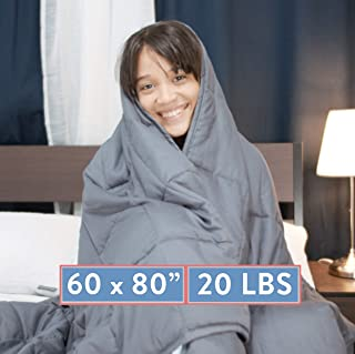 """Weighted Blanket 20 LBS Queen Size Anxiety Relief Thick Heavy Weight Calming Blankets Lap Pad - Full Size Big Cotton Bed Blanket For Adults and Kids With Glass Beads - Large Grey 60""""x80"""" INCH"""