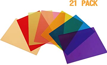 Best Starloop 21Pack Light Gels Colored Overlays Transparency Color Film Plastic Sheets Correction Gel Light Filter Sheet, 8.5x11 Inch,7 Assorted Colors 3 Sets