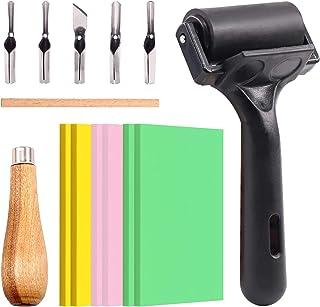 Swpeet 8Pcs Carving Rubber Tools, 6Pcs Scrapbooking Soft Rubber Stamp Carving Linoleum Blocks, 5 in 1 Linoleum Cutter Tool...