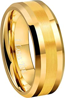 CROWNAL 6mm 8mm 10mm Silver/Gold Tungsten Carbide Wedding Band Ring Engraved I Love You Men Women Brushed Strip Beveled Edge Size 4 to 17
