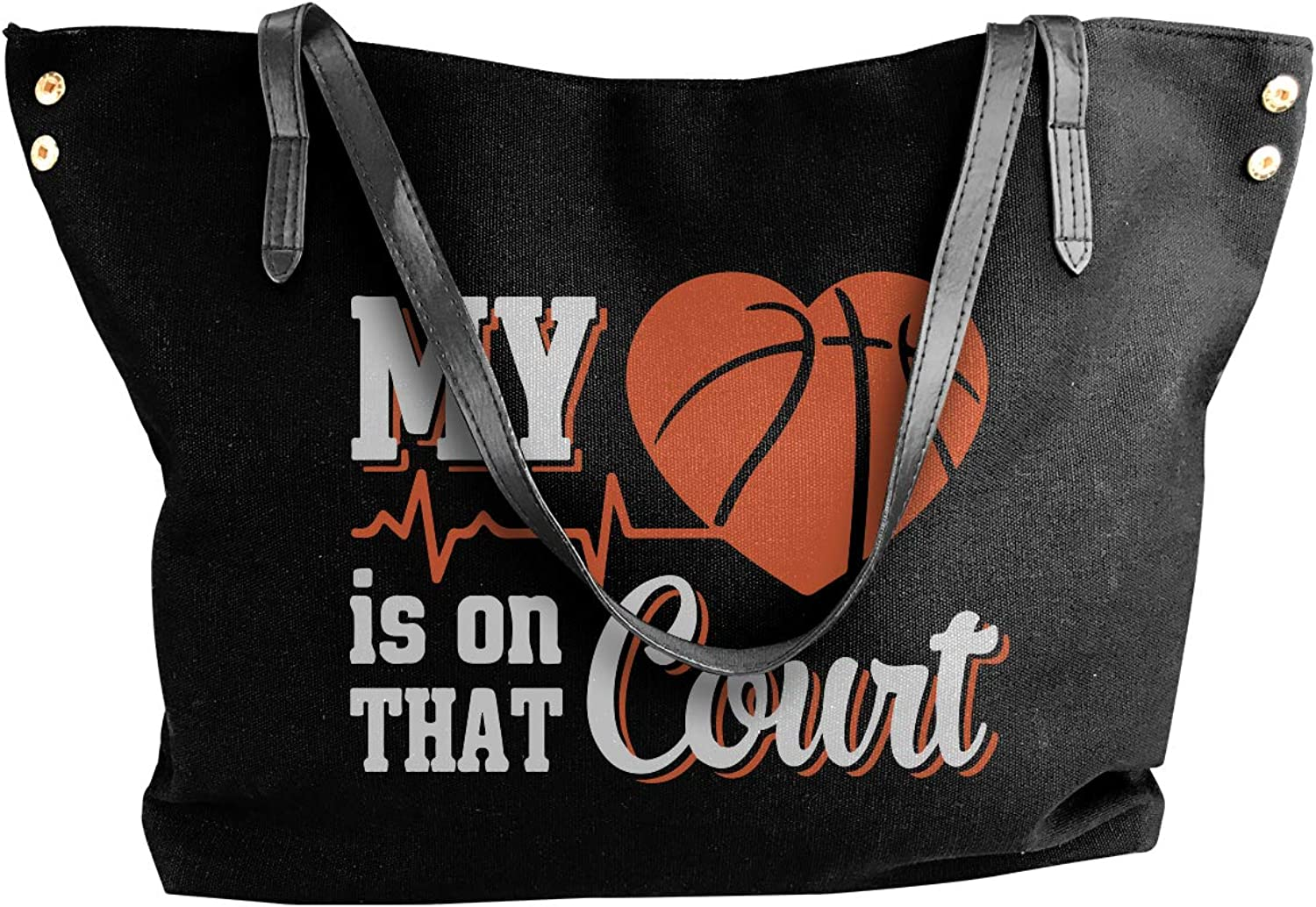 My Heart Is On That Basketball Court Women'S Recreation Canvas Handbag For Work Shoulder Tote