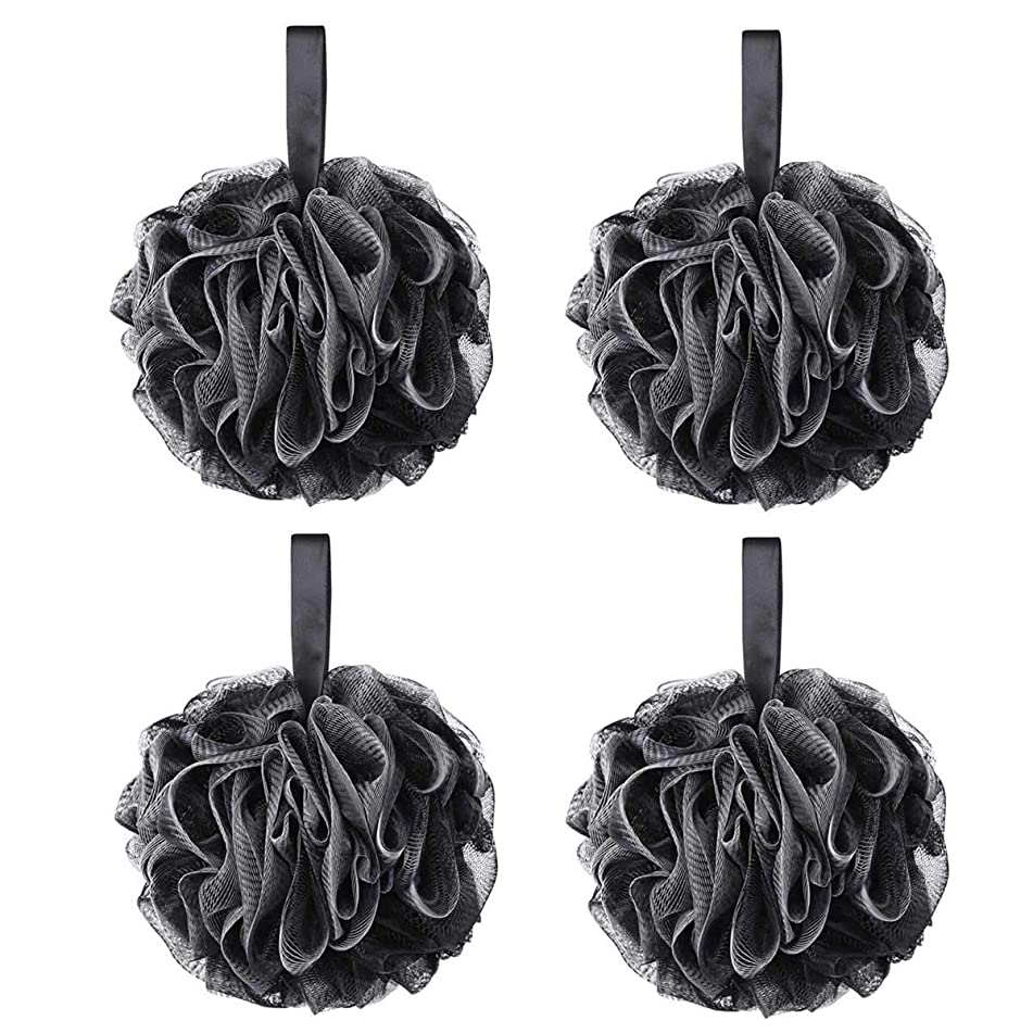 75g XL Black Loofah Loofy Sponge Exfoliating Soft Shower Puff Scrunchie Bath Ball Body Scrubber Mesh Luxury Pouf 4 Set