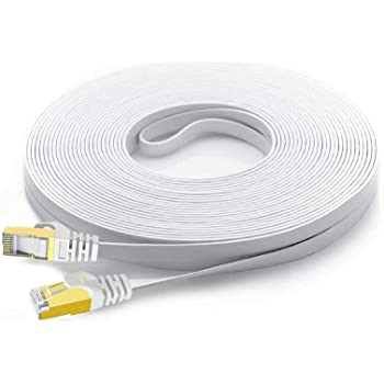 Cat 7 Shielded Ethernet Patch Cable 50 ft White (Highest Speed Cable) Cat7 Flat Internet Network Cable with Snagless RJ45 Connector for Modem, Router, LAN, Computer + Free Cable Clips and Straps