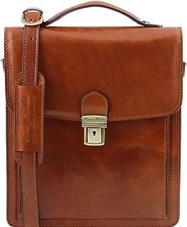 Tuscany Leather David - Leather Crossbody Bag - Large Size - TL141424 (Honey)