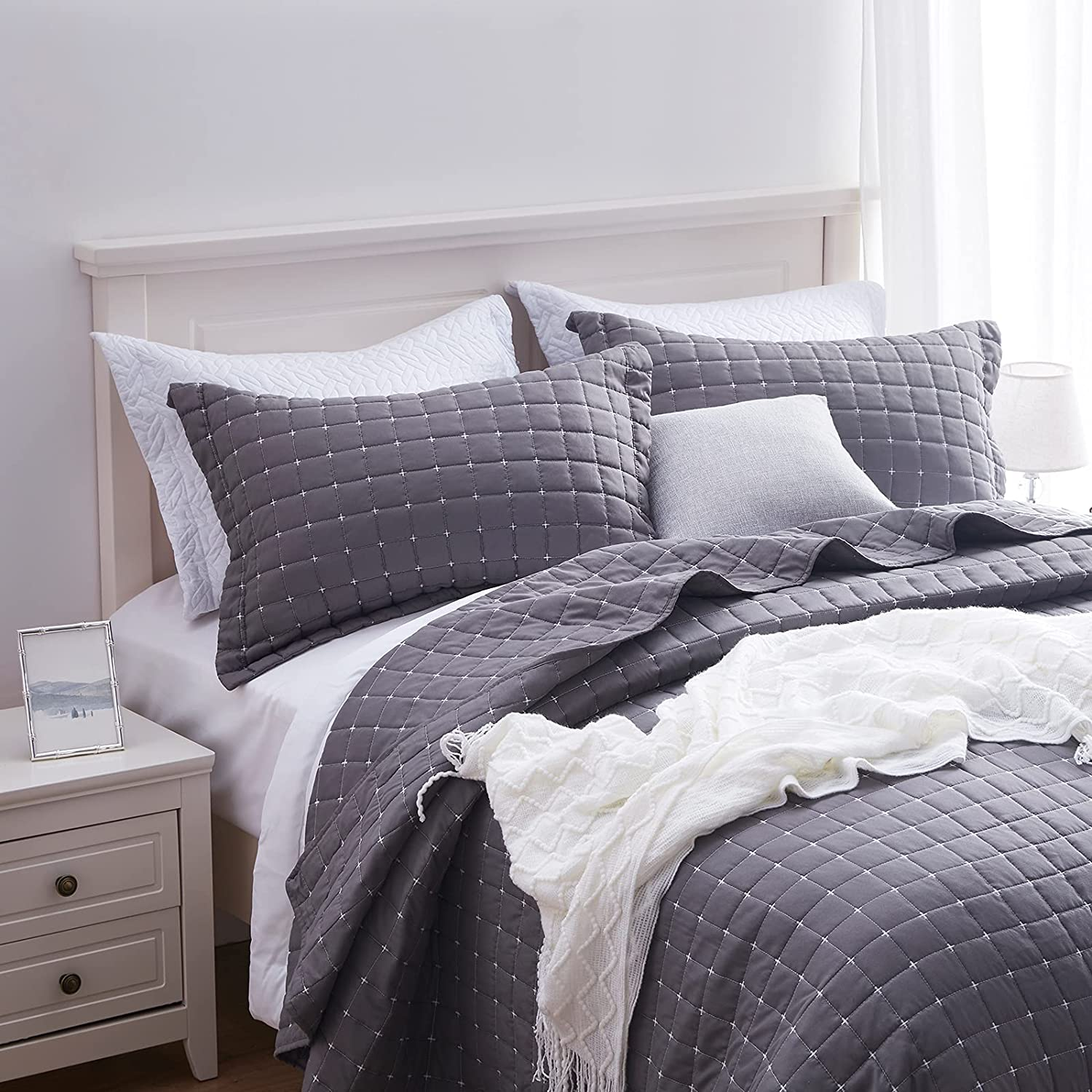 SunStyle Home Quilt Max Direct store 64% OFF Set King Coverlet Lightweight Grey Bedspread
