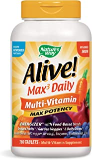 Nature's Way Alive Max Potency Multi Vitamin No Added Iron, 180 Tablets