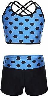 FEESHOW Girls' Athletic Crop Top with Shorts Set Gymnastics Leotard for Dancewear Activewear Swimwear