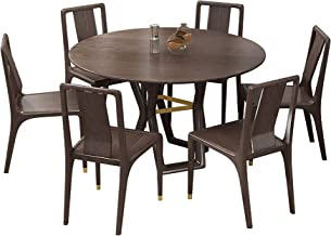 Dining Table, Solid Wood Dining Table and Chair Combination 9 Piece Set Round Dining Table Kitchen Furniture Two Colors 13...