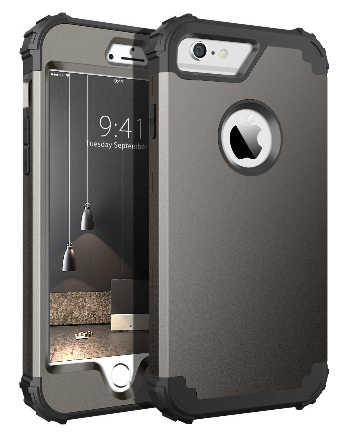 BENTOBEN Funda iPhone 6s Plus,Funda iPhone 6 Plus, 3 en 1 Carcasa Combinada PC Híbrido y Silicona TPU Resistente PC Bumper Antigolpes Protectora Cubierta Fundas para iPhone 6 plus/6s Plus 5.5-Bronce: Amazon.es: