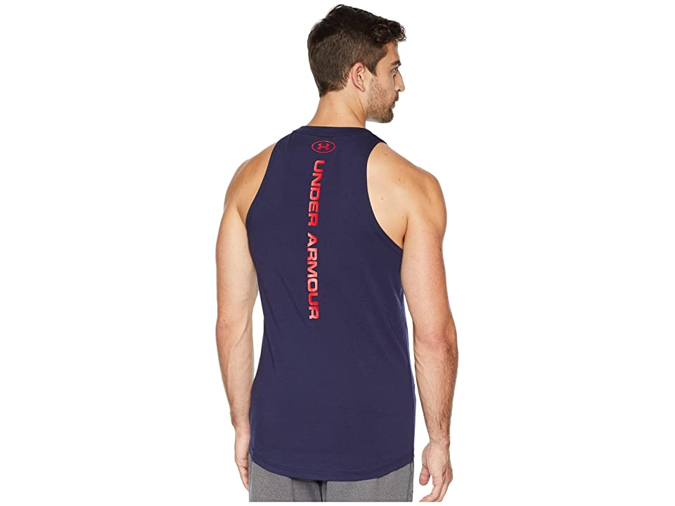 Under Armour UA Baseline Cotton Tank Top (Midnight Navy/Red/Red) Men