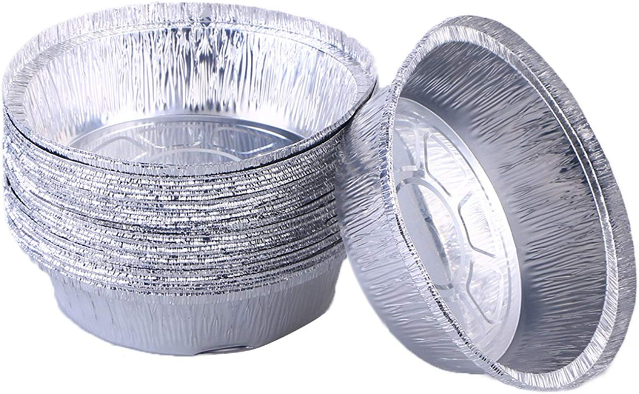 BESTONZON Disposable Aluminum Foil Tart Pie Pans Perfect For Homemade Pies Tart Quiche 6 Inch Pack Of 30
