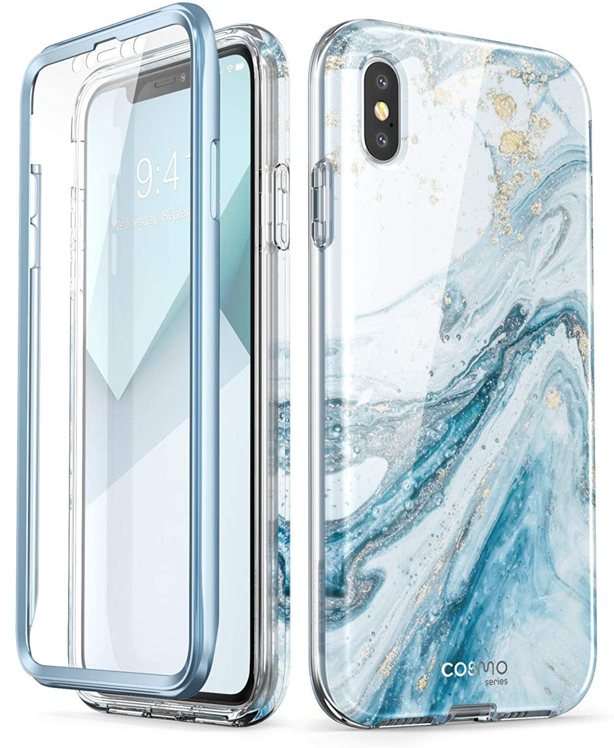 iPhone Xs Case, iPhone X Case,[Built-in Screen Protector] i-Blason [Cosmo] Full-Body Glitter Bumper Case for iPhone Xs 5.8 Inch 2018 Release (Blue) (Renewed)