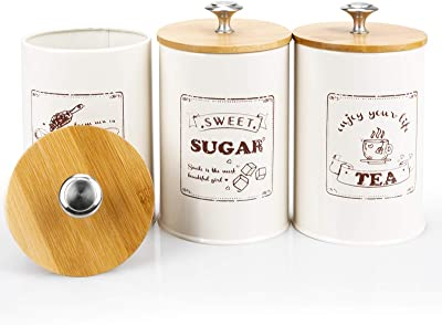DAILYLIFE Set of 3 Airtight Kitchen Canister Metal Food Storage Tin With Bamboo Lid for Sugar Tea Coffee Beige