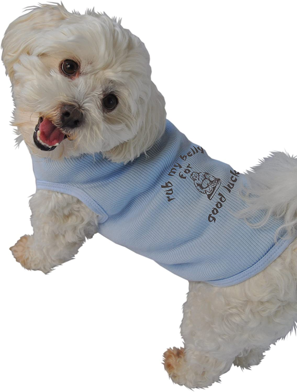 Ruff Ruff and Meow Medium Doggie Tank Top, Rub My Belly for Good Luck, bluee