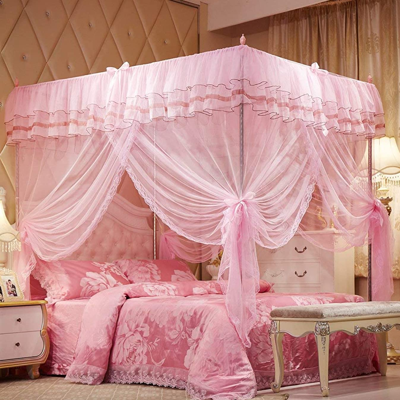 Uozzi Bedding 4 Corners Post Pink Canopy Bed Curtain for Girls & Adults - Cute Cozy Drape Square Netting for Twin Bed - 4 Opening 45