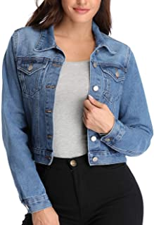 andy & natalie Denim Jacket for Women Crop Blue Jean Jacket Washed Button up Basic Outwear