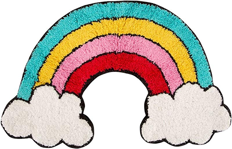 Sass Belle Rainbow With Clouds Shaped Floor Rug